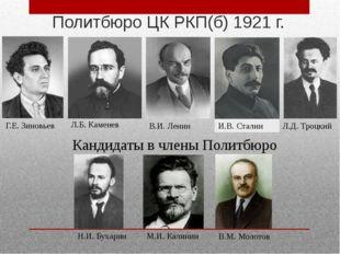 Г.Е. Зиновьев Л.Б. Каменев Н.И. Бухарин В.М. Молотов Политбюро ЦК РКП(б) 1921
