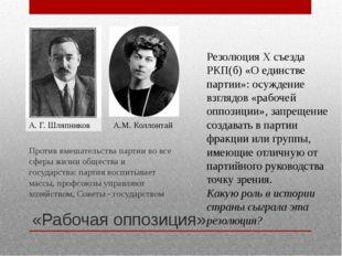 «Рабочая оппозиция» Против вмешательства партии во все сферы жизни общества и