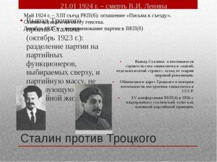 Сталин против Троцкого Выпад Троцкого против Сталина (октябрь 1923 г.): разде