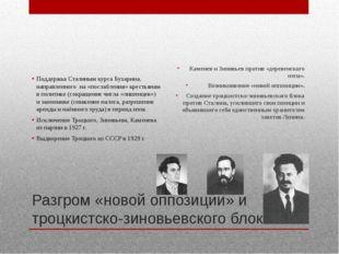 Разгром «новой оппозиции» и троцкистско-зиновьевского блока Поддержка Сталины