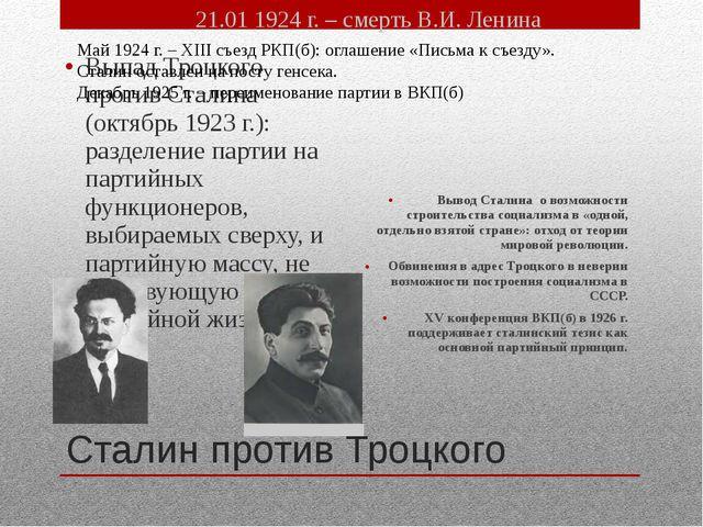 Сталин против Троцкого Выпад Троцкого против Сталина (октябрь 1923 г.): разде...