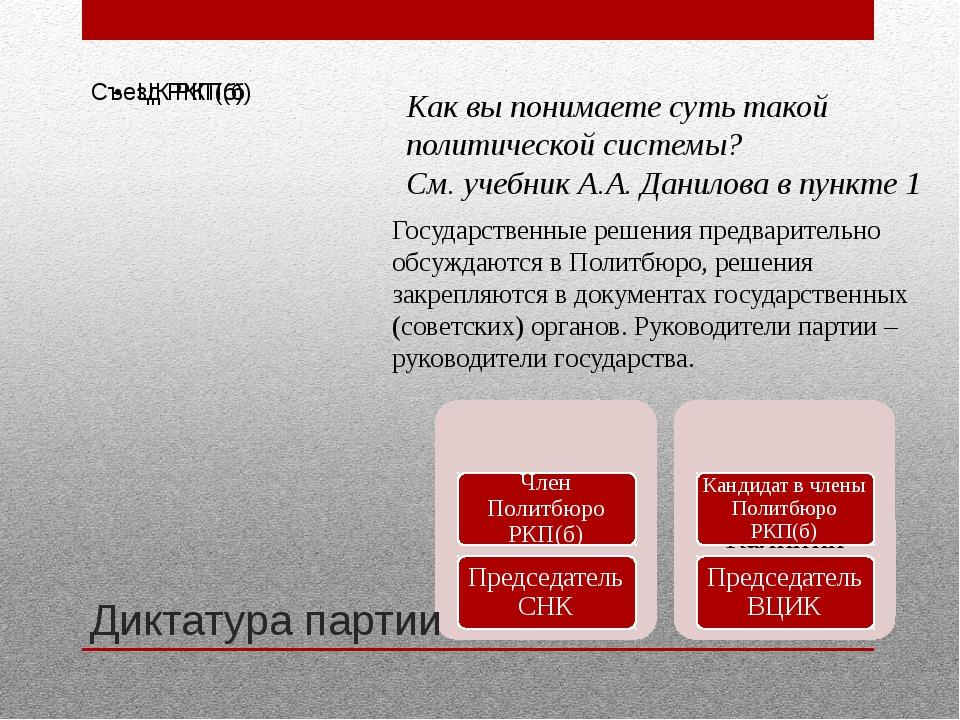 Диктатура партии Как вы понимаете суть такой политической системы? См. учебни...