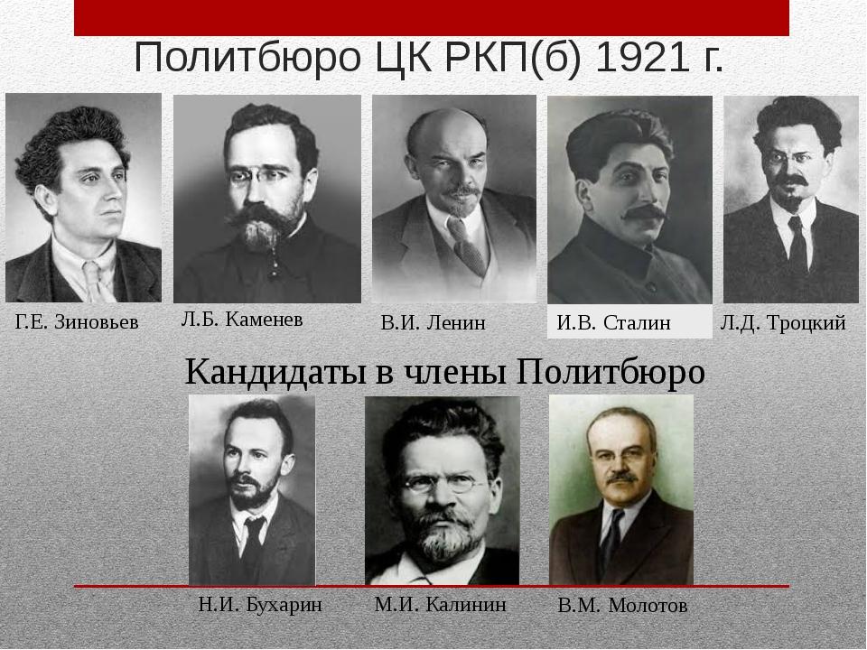 Г.Е. Зиновьев Л.Б. Каменев Н.И. Бухарин В.М. Молотов Политбюро ЦК РКП(б) 1921...