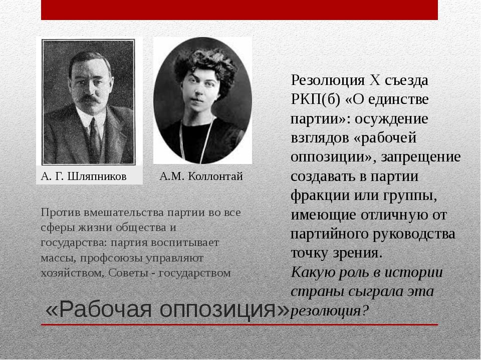 «Рабочая оппозиция» Против вмешательства партии во все сферы жизни общества и...
