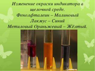 Изменение окраски индикатора в щелочной среде. Фенолфталеин – Малиновый Лакму
