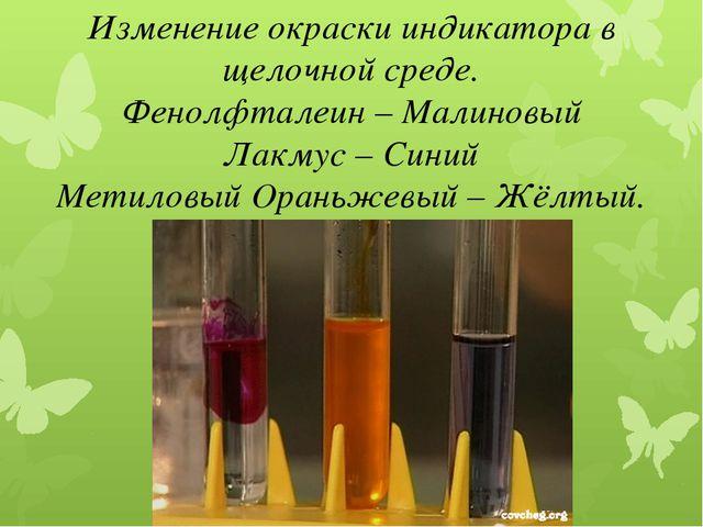 Изменение окраски индикатора в щелочной среде. Фенолфталеин – Малиновый Лакму...