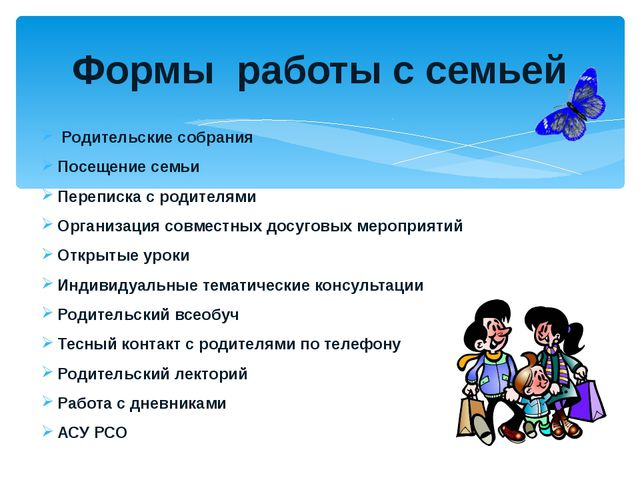Родительские собрания Посещение семьи Переписка с родителями Организация сов...