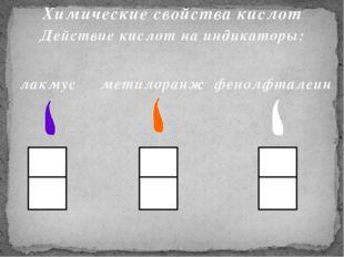 Химические свойства кислот Действие кислот на индикаторы: лакмус метилоранж ф