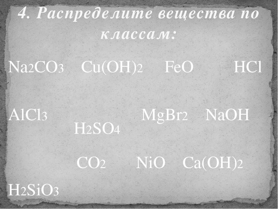Na2CO3 Cu(OH)2 FeO AlCl3 MgBr2 NaOH CO2 NiO Ca(OH)2 HCl H2SO4 H2SiO3 4. Распр...