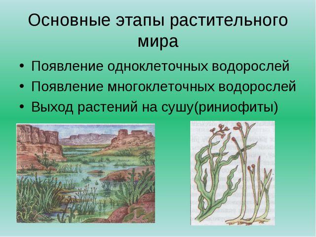 Основные этапы растительного мира Появление одноклеточных водорослей Появлени...