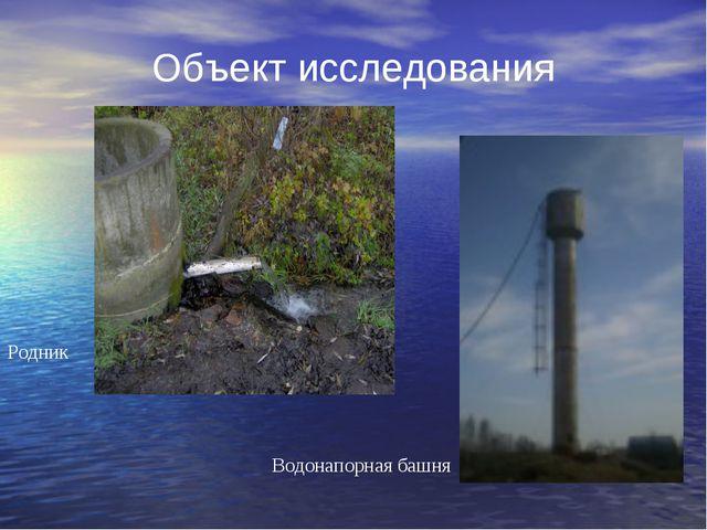 Объект исследования Родник Водонапорная башня