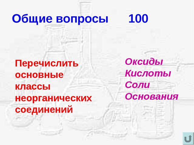 Общие вопросы 100 Перечислить основные классы неорганических соединений Оксид...
