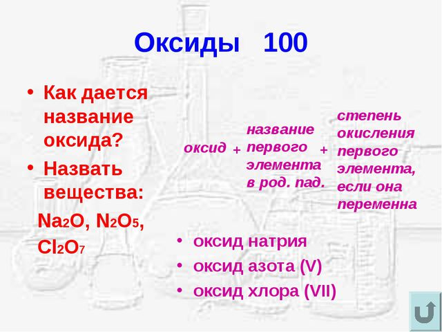 Оксиды 100 Как дается название оксида? Назвать вещества: Na2O, N2O5, Cl2O7 ок...