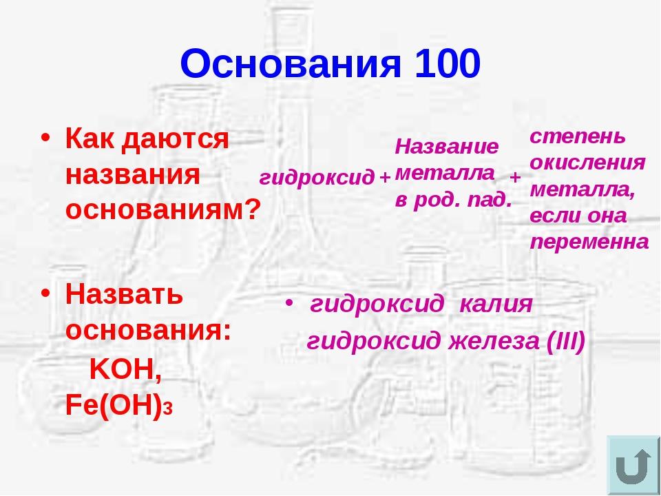Основания 100 Как даются названия основаниям? Назвать основания: KOH, Fe(OH)3...