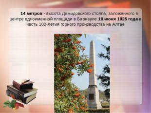 14 метров - высота Демидовского столпа, заложенного в центре одноименной пло