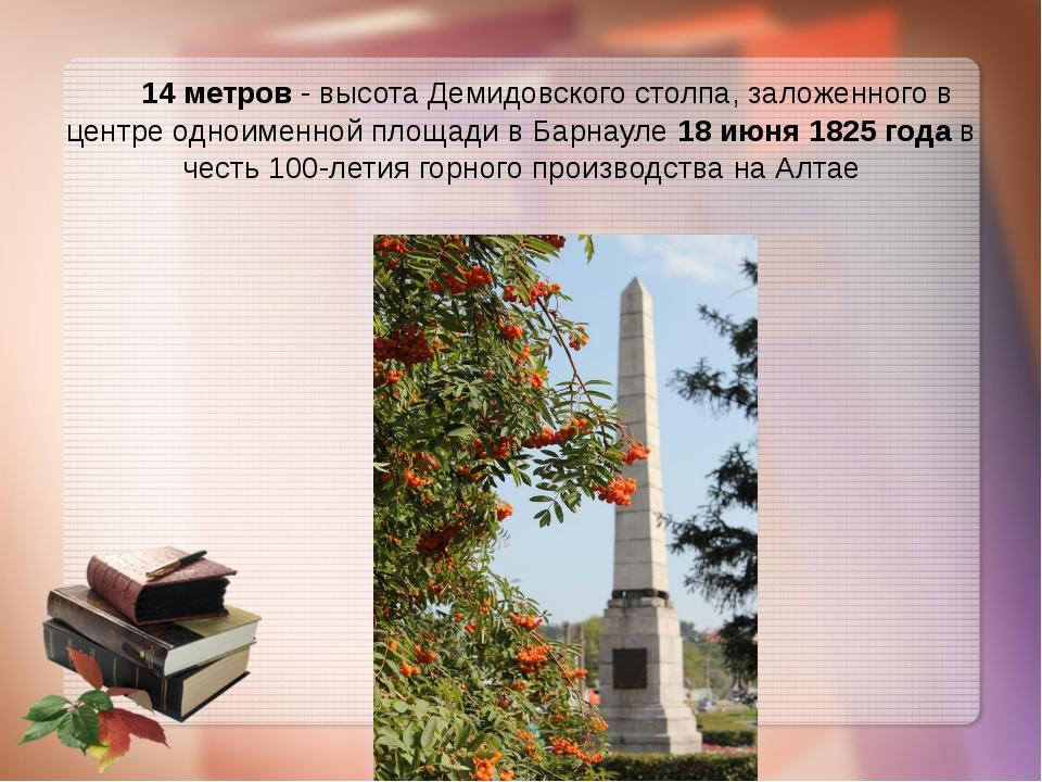 14 метров - высота Демидовского столпа, заложенного в центре одноименной пло...