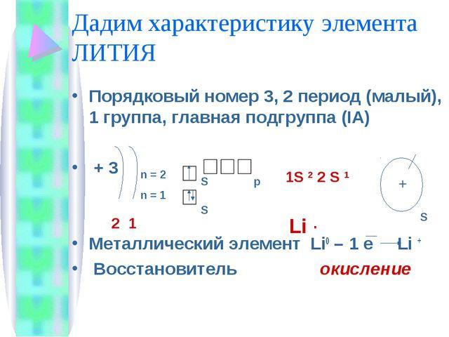 Дадим характеристику элемента ЛИТИЯ Порядковый номер 3, 2 период (малый), 1 г...