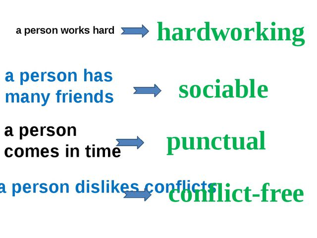 a person works hard a person has many friends a person comes in time a person...