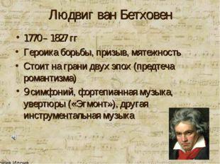 Людвиг ван Бетховен 1770 – 1827 гг Героика борьбы, призыв, мятежность Стоит н