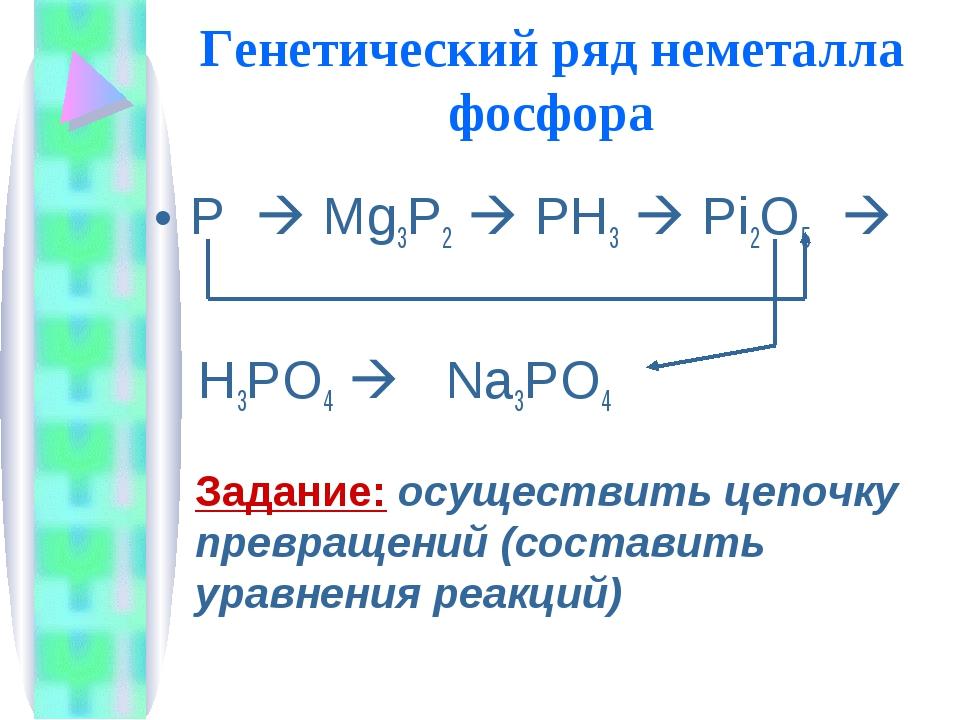 Генетический ряд неметалла фосфора Р  Mg3P2  PH3  Рi2O5  H3РО4  Na3PO4 З...