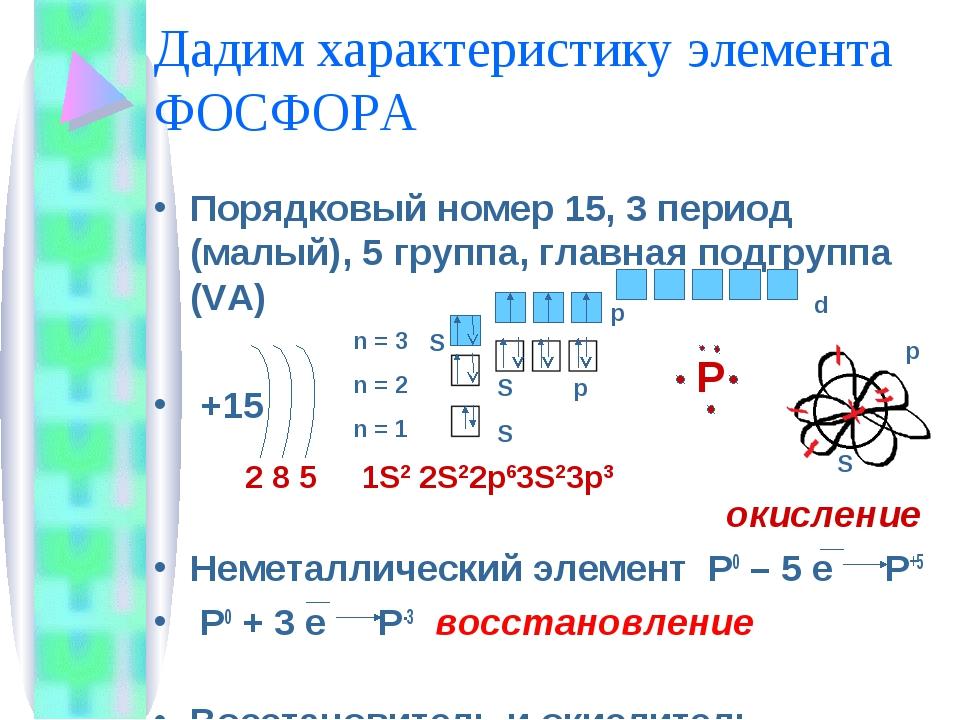 Дадим характеристику элемента ФОСФОРА Порядковый номер 15, 3 период (малый),...