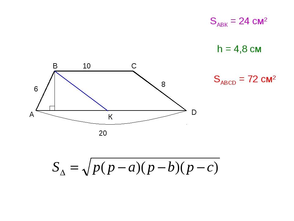 А D B C 10 6 8 20 К SABCD = 72 см2 h = 4,8 см SАВК = 24 см2