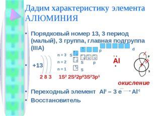 Дадим характеристику элемента АЛЮМИНИЯ Порядковый номер 13, 3 период (малый),