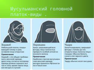 Мусульманский головной платок-виды .