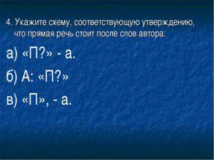 4. Укажите схему, соответствующую утверждению, что прямая речь стоит после сл