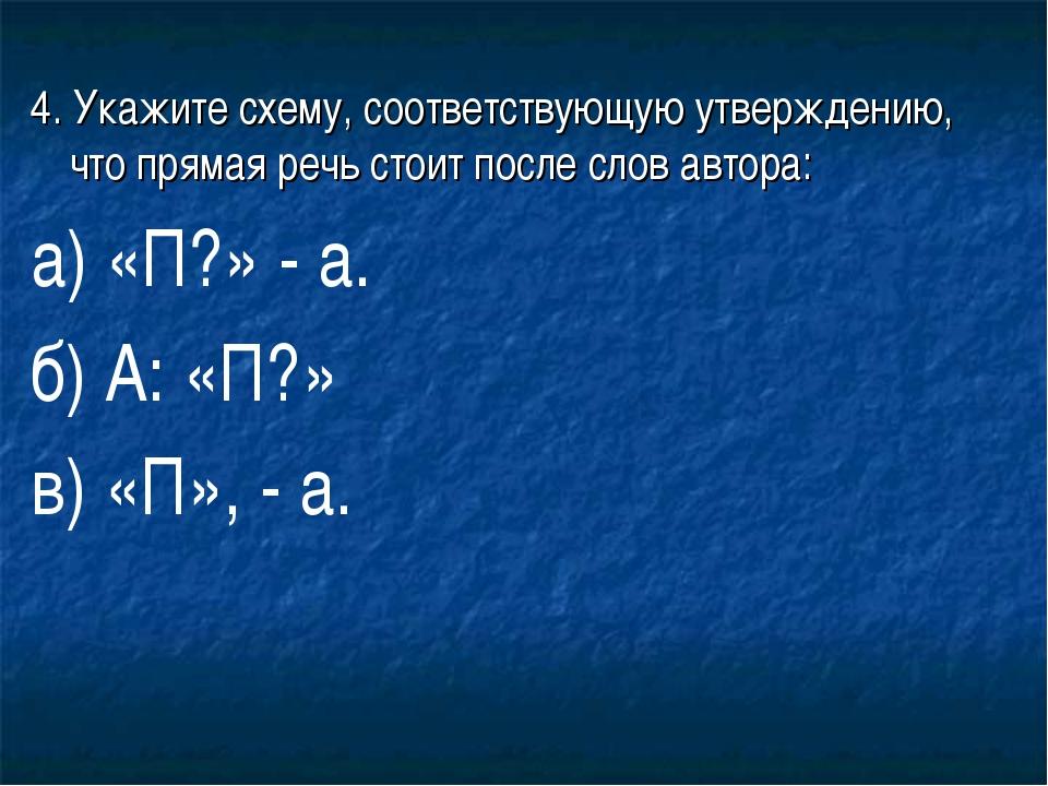 4. Укажите схему, соответствующую утверждению, что прямая речь стоит после сл...