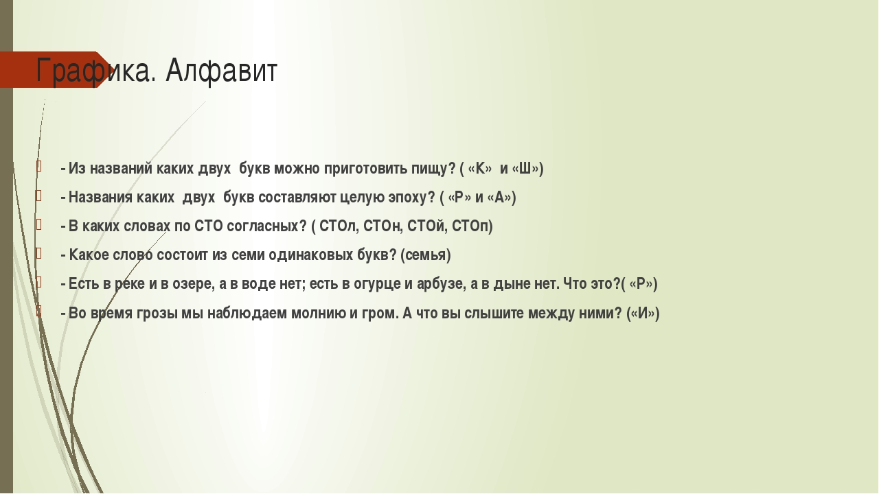 Графика. Алфавит - Из названий каких двух букв можно приготовить пищу? ( «К»...