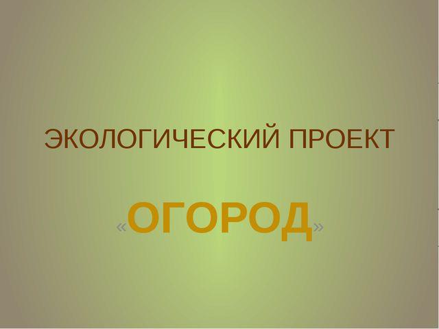 ЭКОЛОГИЧЕСКИЙ ПРОЕКТ «ОГОРОД»