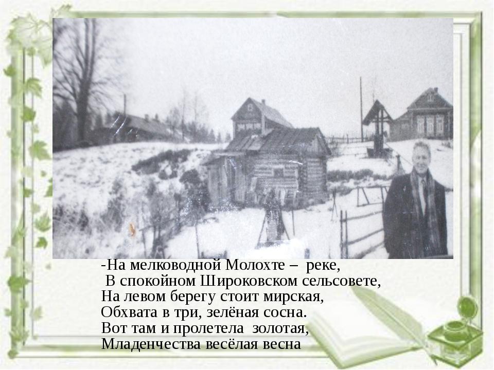 -На мелководной Молохте – реке, В спокойном Широковском сельсовете, На левом...