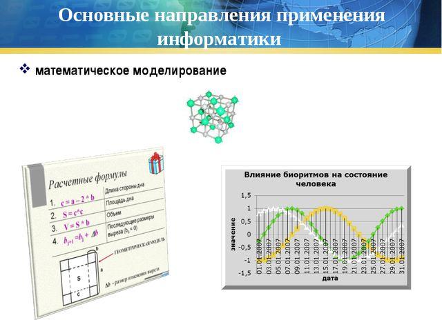 Основные направления применения информатики математическое моделирование