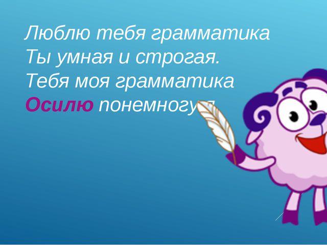 Люблю тебя грамматика Ты умная и строгая. Тебя моя грамматика Осилю понемногу...