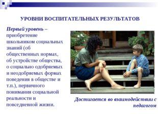 УРОВНИ ВОСПИТАТЕЛЬНЫХ РЕЗУЛЬТАТОВ Достигается во взаимодействии с педагогом П
