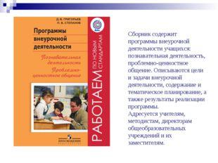 Сборник содержит программы внеурочной деятельности учащихся: познавательная д