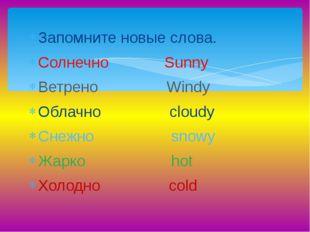 Запомните новые слова. Солнечно Sunny Ветрено Windy Облачно cloudy Снежно sno