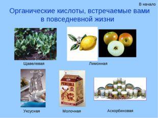 Органические кислоты, встречаемые вами в повседневной жизни Щавелевая Лимонна
