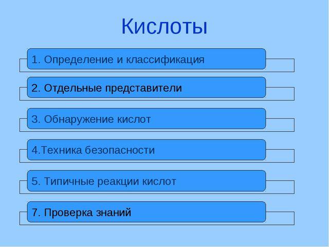 Кислоты 1. Определение и классификация 2. Отдельные представители 3. Обнаруже...