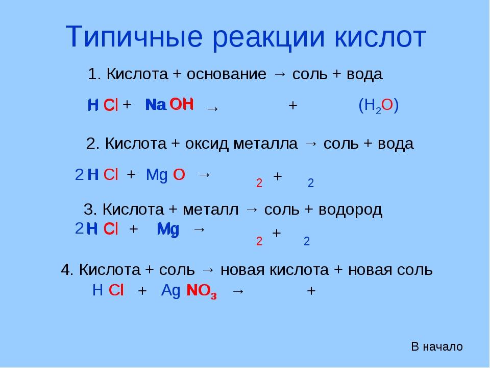 Типичные реакции кислот 1. Кислота + основание → соль + вода Н Сl + Na OH → Н...