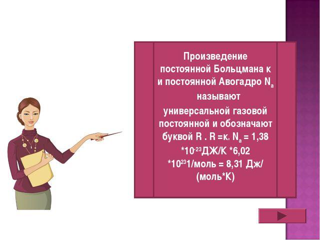 Произведение постоянной Больцмана к и постоянной Авогадро Na называют универ...