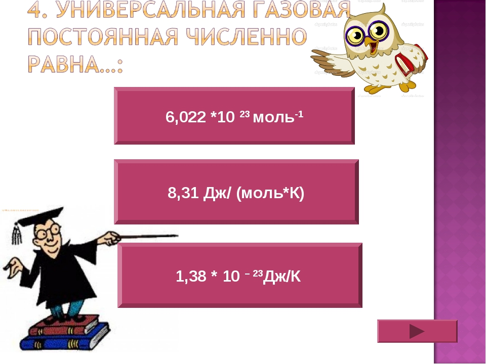 6,022 *10 23 моль-1 1,38 * 10 – 23Дж/К 8,31 Дж/ (моль*К)