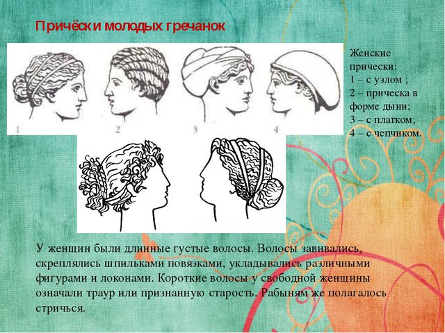Причёски молодых гречанок У женщин были длинные густые волосы. Волосы завивал...
