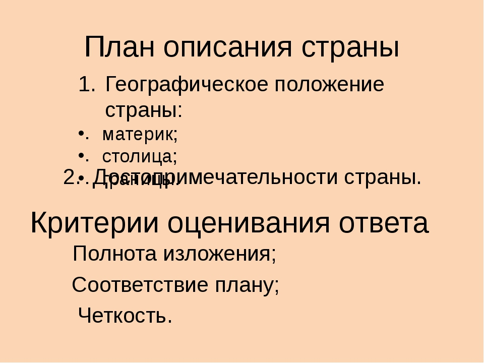План описания страны Географическое положение страны: материк; столица; грани...
