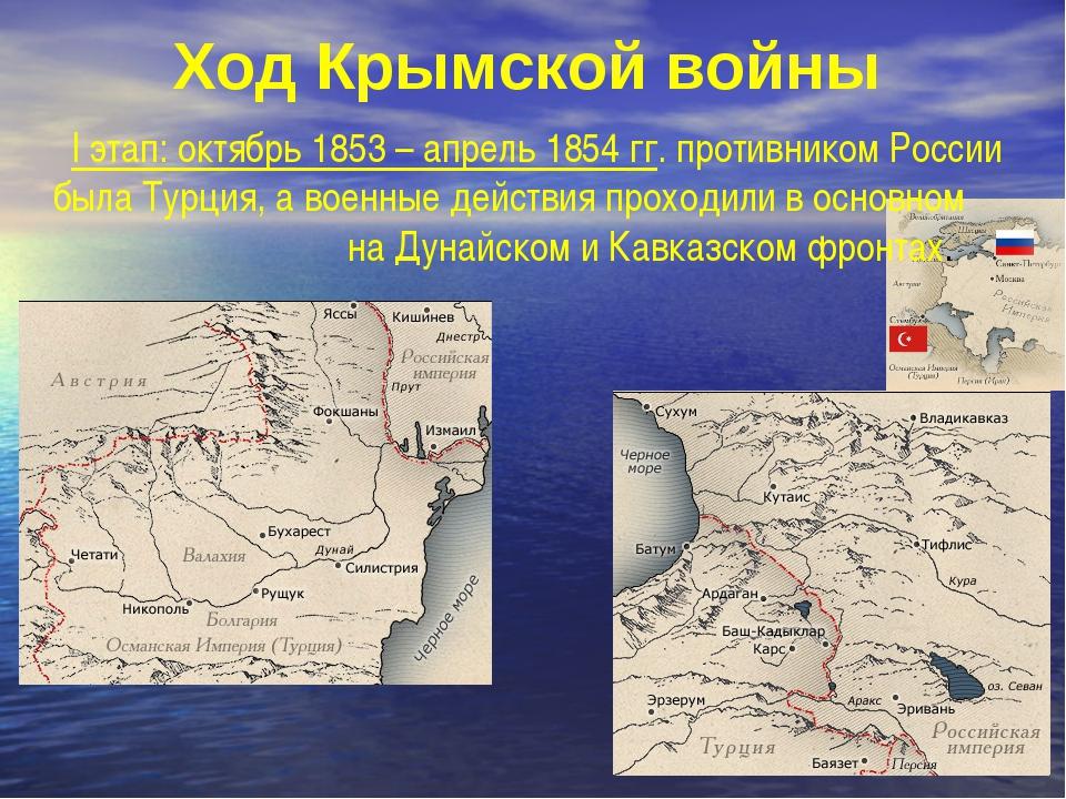 Ход Крымской войны I этап: октябрь 1853 – апрель 1854 гг. противником России...