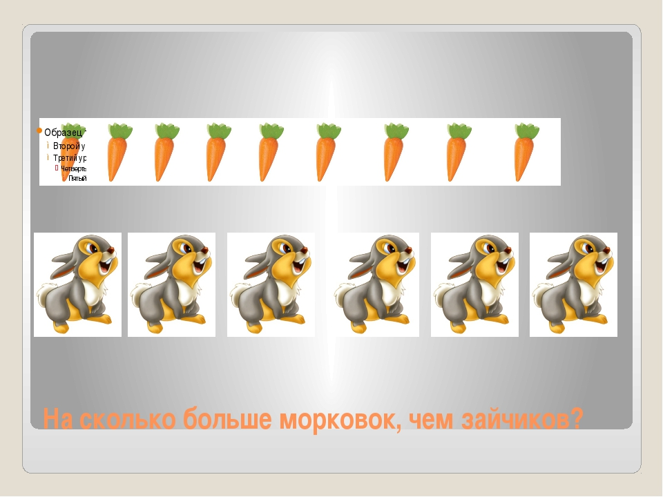 На сколько больше морковок, чем зайчиков?