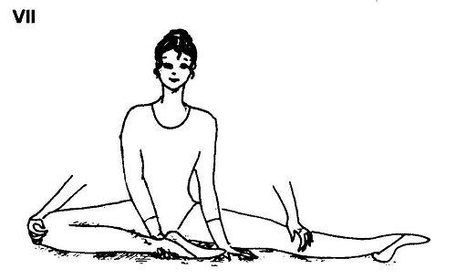 Сидя на полу, разведи ноги в стороны до предела