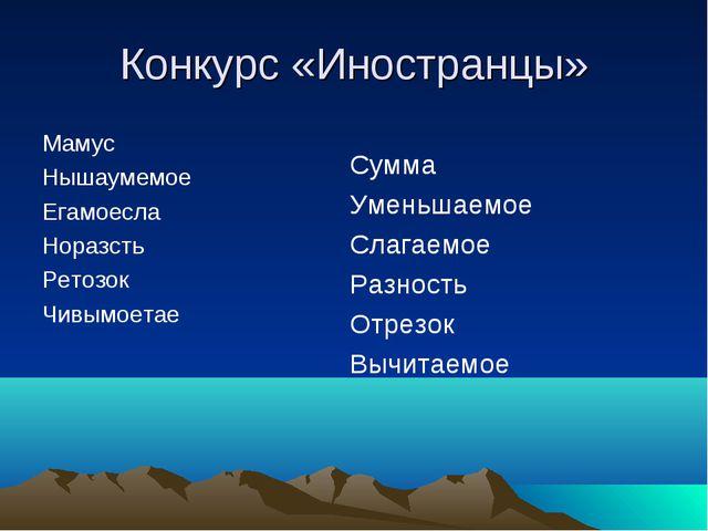 Конкурс «Иностранцы» Мамус Нышаумемое Егамоесла Норазсть Ретозок Чивымоетае С...