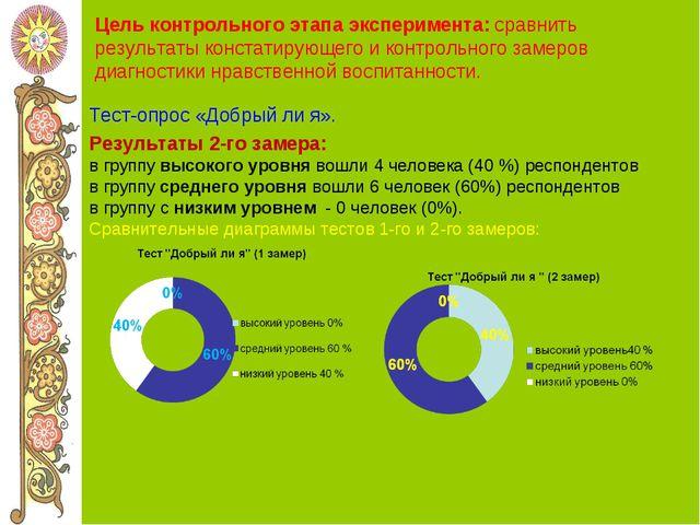Цель контрольного этапа эксперимента: сравнить результаты констатирующего и к...